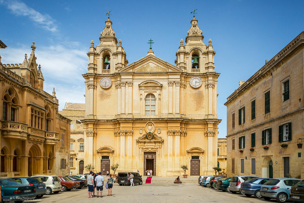 View of St Paul's Cathedral from St Paul's Square in Mdina, Malta.