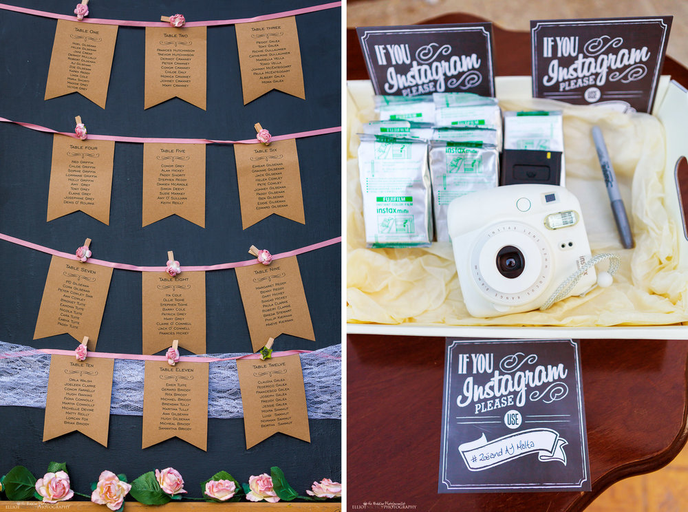 wedding reception decoration - instant camera and table settings board.