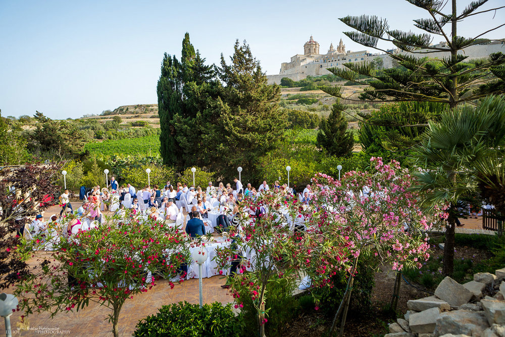 General view of the wedding venue the Olive Gardens in Mdina, Malta, during a wedding reception.