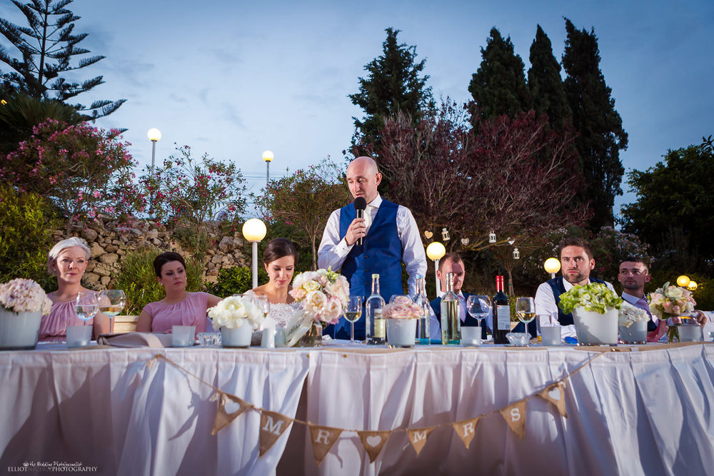 Groom performing his wedding speech during the wedding reception at the Olive Gardens in Mdina.
