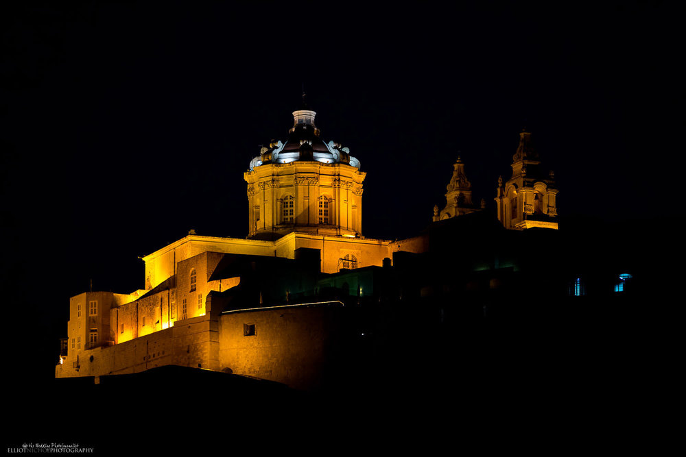 View of St Paul's cathedral in Mdina, Malta at Night