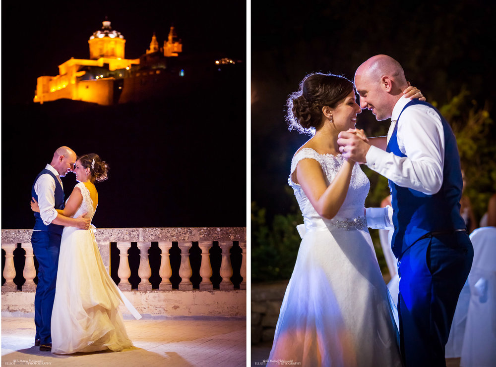 Husband and wife dance together for the first time at the Olive Gardens, Mdina, malta