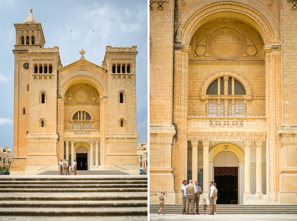 Groom and Groomsmen waiting outside St Peter's Church, Birzebbuga, Malta