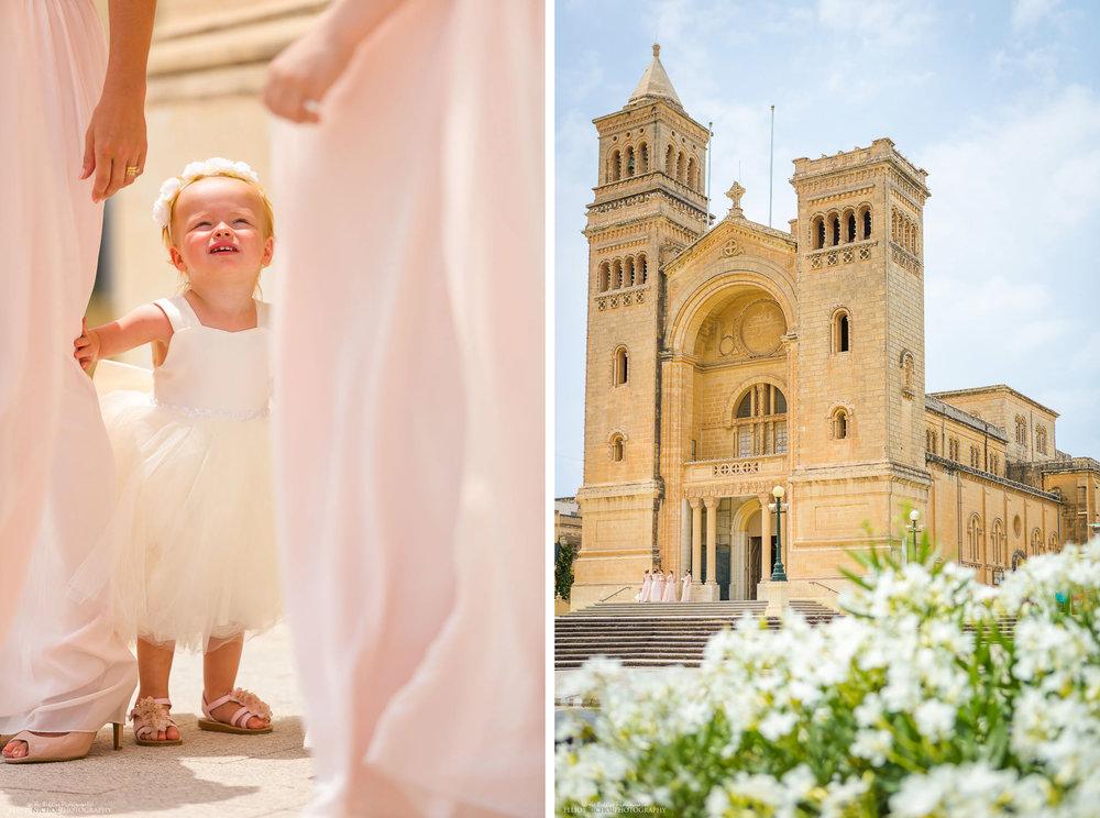 Flower girl with bridesmaids outside St Peters Parish Church, Birzebbuga, Malta