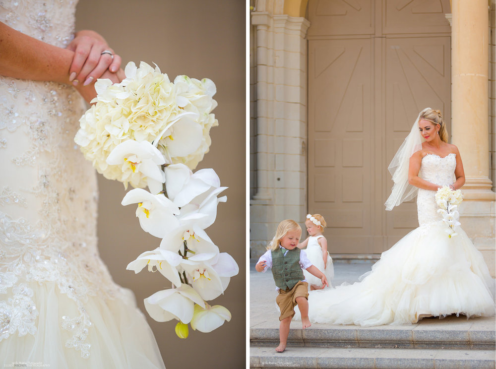 bride with her bouquet and children