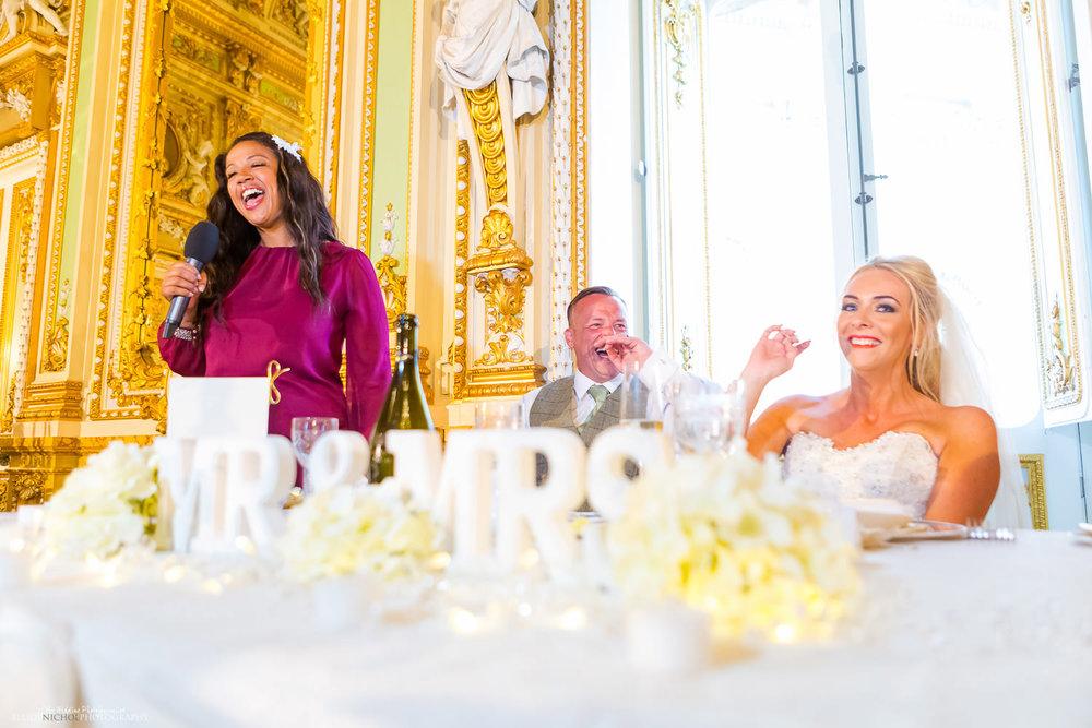 wedding speeches in the Ballroom at the Palazzo Parisio, Malta