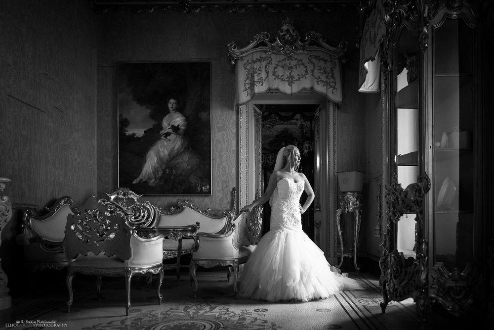 Bride in her wedding dress at the Palazzo Parisio, Naxxar, Malta