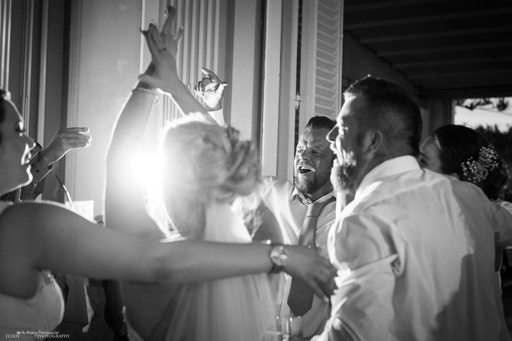wedding reception partying