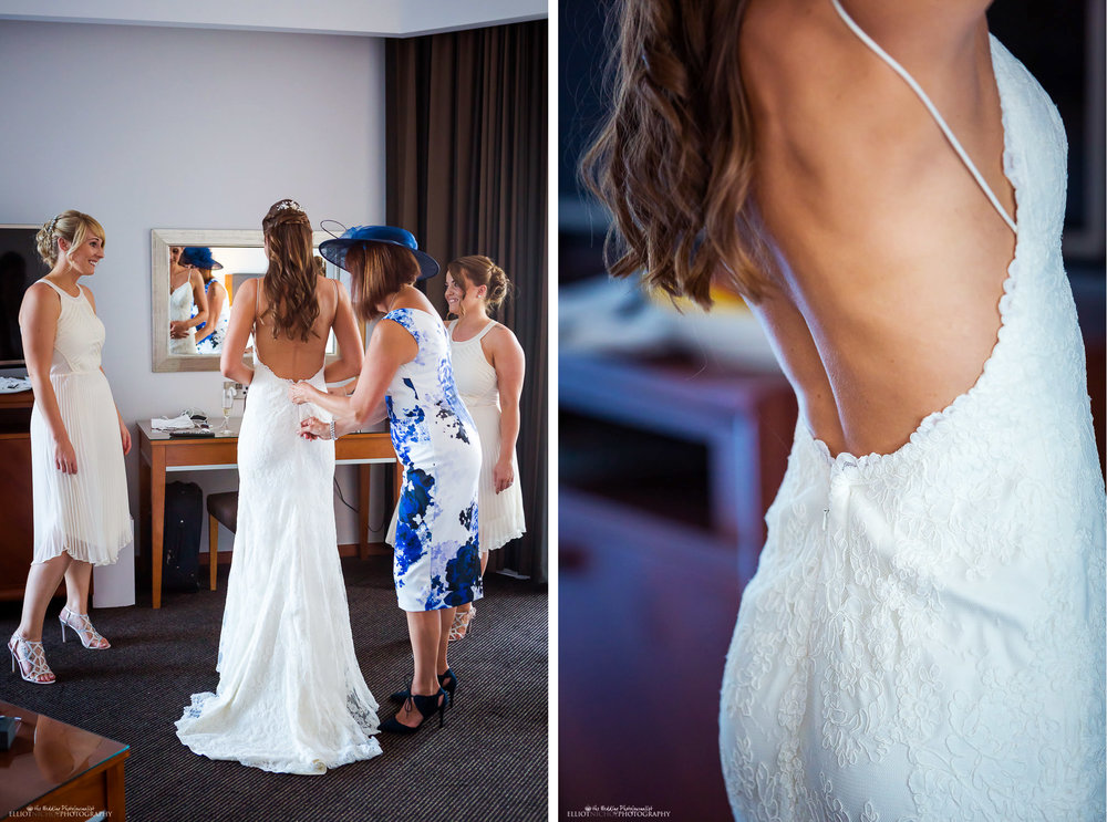 Bride getting into her wedding dress in her hotel room at the Radisson in St Julians, Malta
