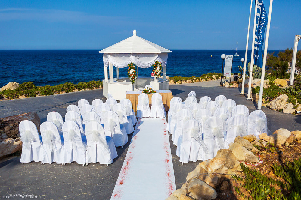 Wedding venue ceremony setup at the Edge, Radisson Blu, St Julians, Malta
