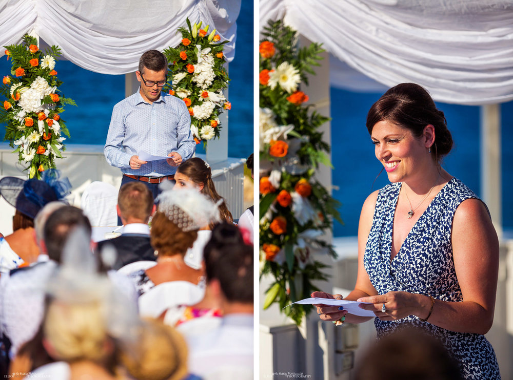 Guests perform wedding readings during the wedding ceremony at the Radisson, Malta