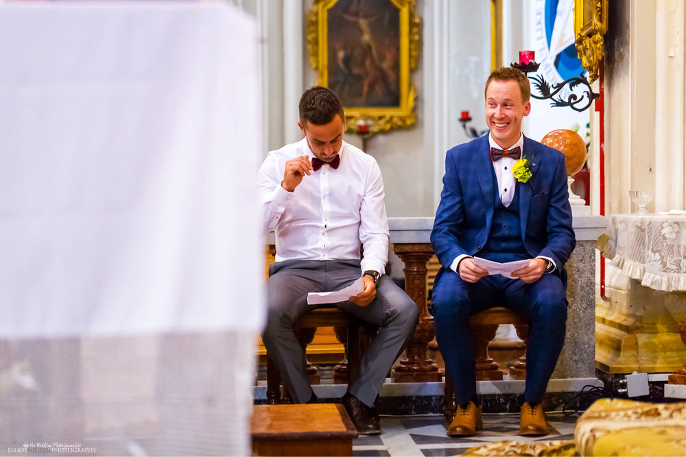 wedding guest about to perform his wedding ceremony readings in Malta.