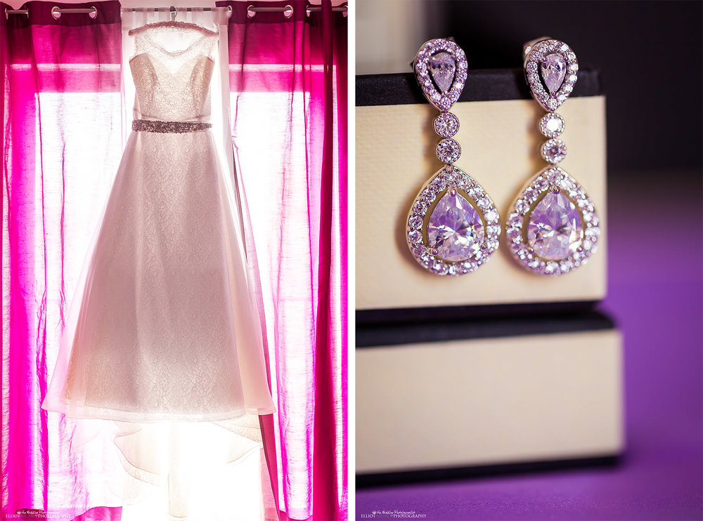 wedding dress and earring detail