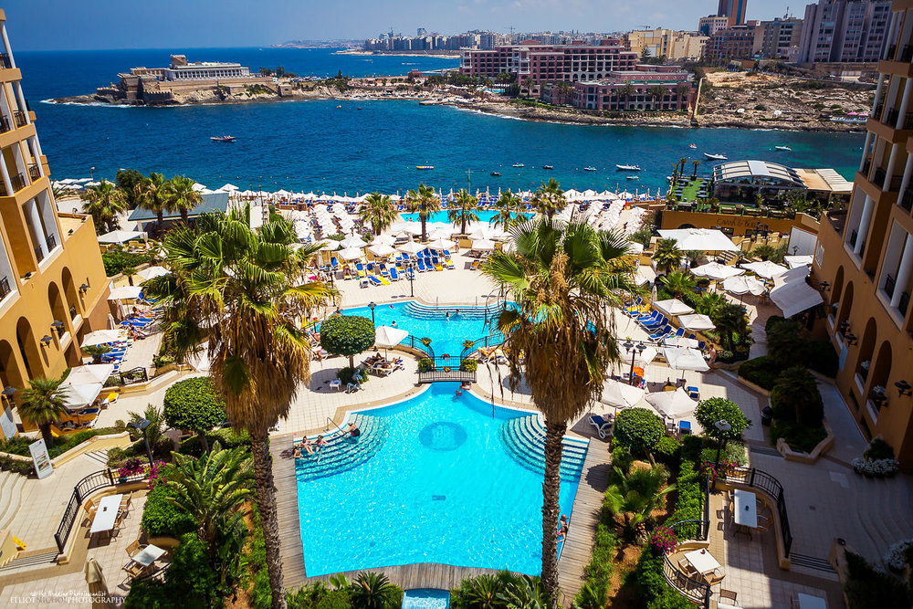 View from the Corinthia Hotel towards St Julians and Sliema in Malta.
