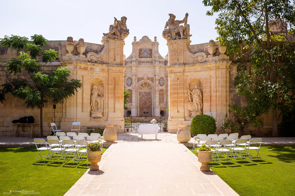 Maltese wedding venue Villa Bologna ceremony set up