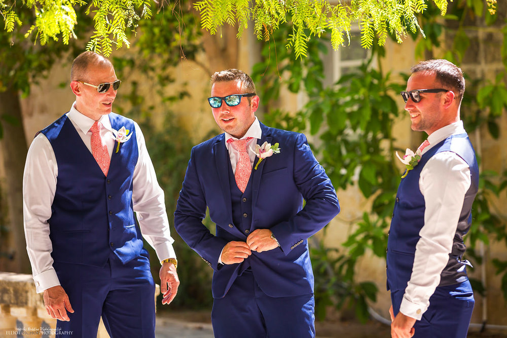 Groom and his groomsmen in the Baroque Garden at Villa Bologna in Attard, Malta