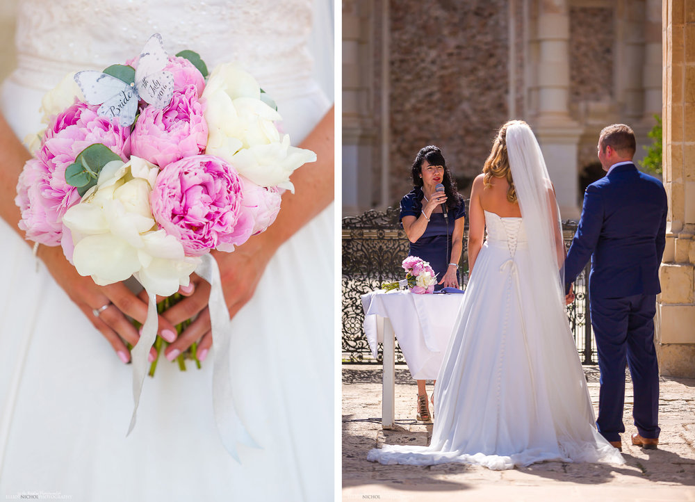 Wedding bouquet and wedding ceremony at the Villa Bologna, Malta.