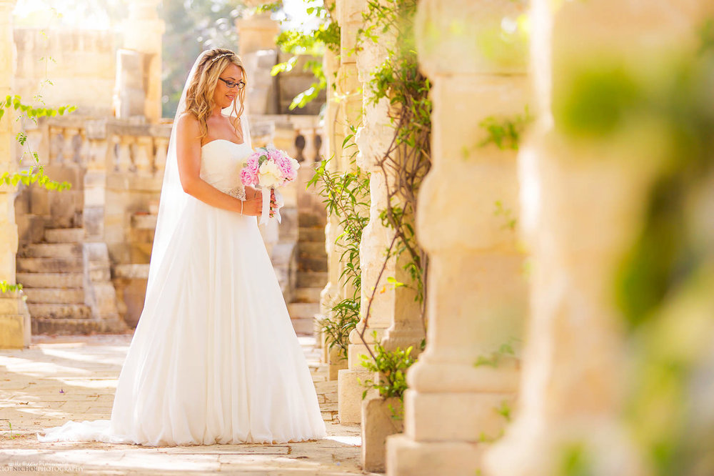 Portrait of the Bride in the gardens of Villa Bologna, Malta.