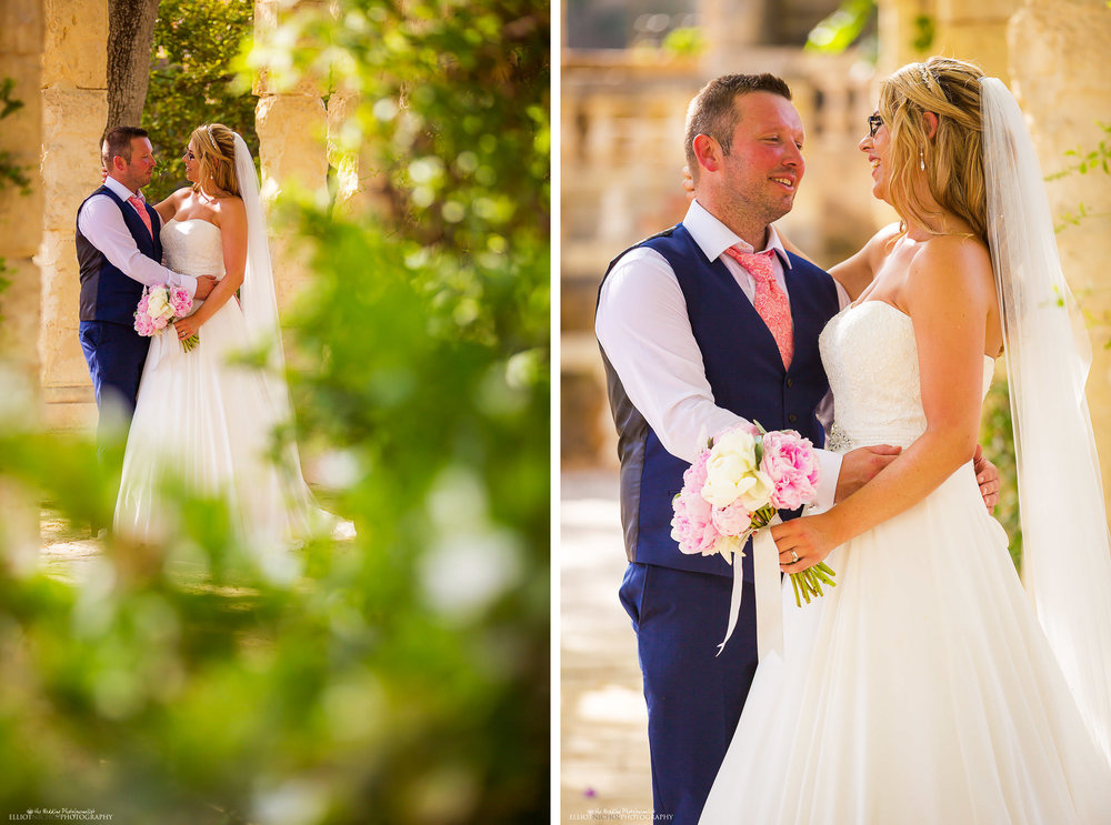 Portrait of bride and groom in the gardens of the Villa Bologna in Attard, Malta.