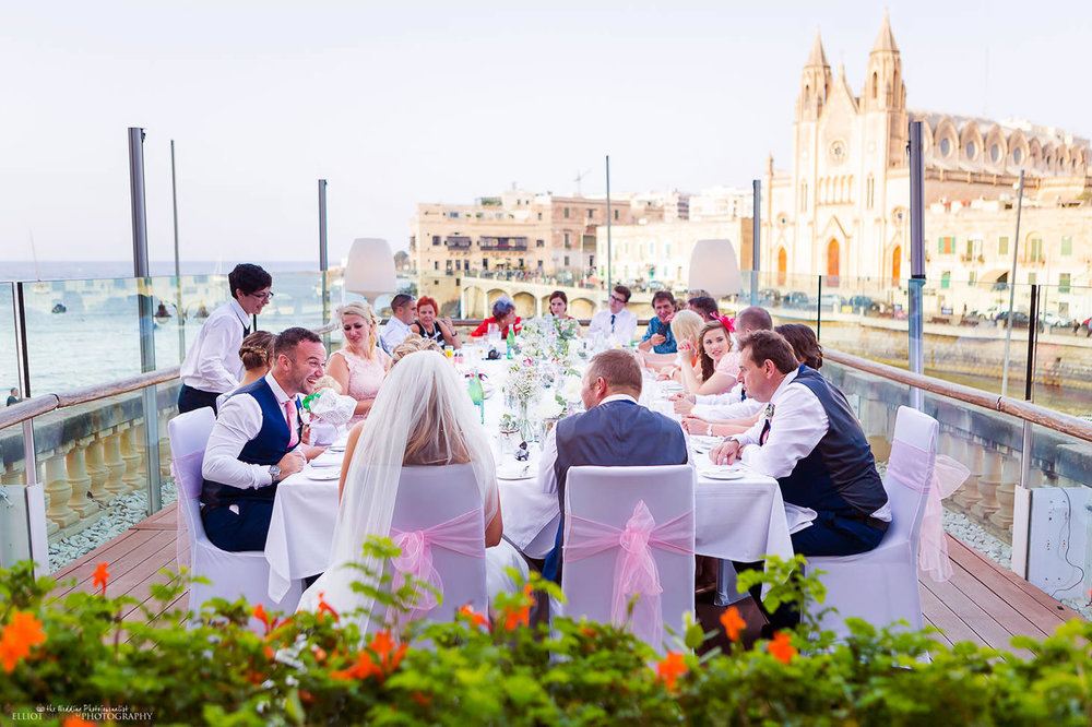 Wedding reception at the Villa Brasserie, Balluta bay, St Julians, Malta