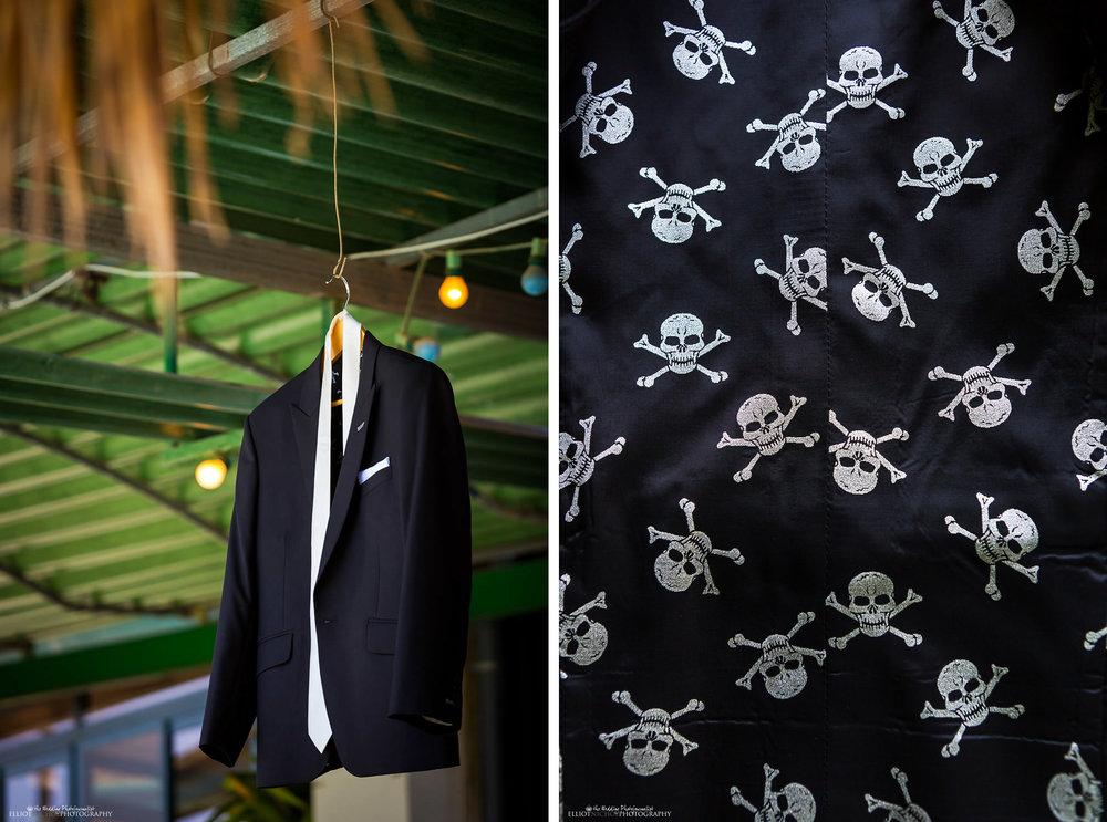 skull and cross bone groom's wedding suit in Malta