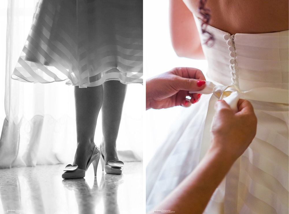 Bride in her Wedding dress and wedding day shoes