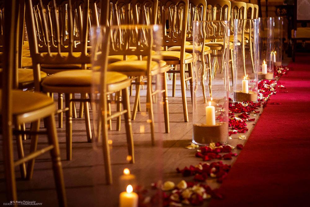 Candles and roses petals of the wedding ceremony venue Palazzo Parisio, Naxxar, Malta.