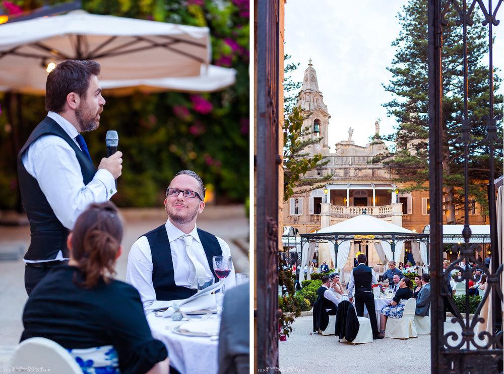 Bestman speech at the Palazzo Parisio garden wedding in Malta.