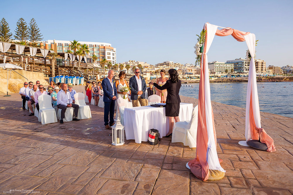 Wedding ceremony on the Amazonia Lower Deck at the Dolmen Resort in Qawra, Malta