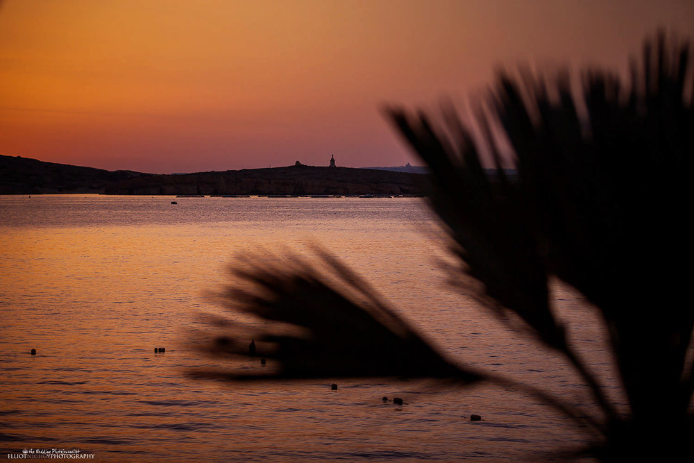 Sunset view over the St Paul's Island in Malta from the Dolemen Hotel