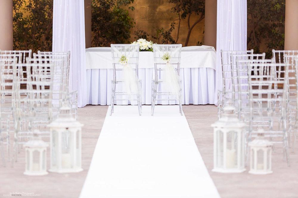 Wedding ceremony set up at Villa Mdina in Naxxar Malta.
