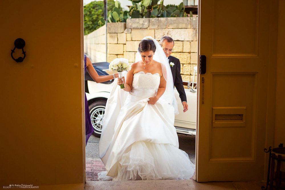 Bride arrives at Villa Mdina, Naxxar, Malta.