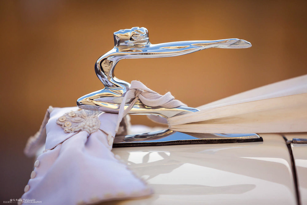 Vintage wedding car detail in Malta.
