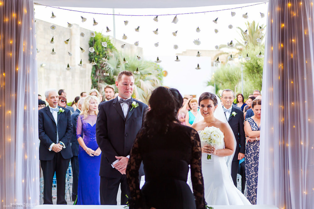Bride and groom during the wedding ceremony at Villa Mdina in Malta