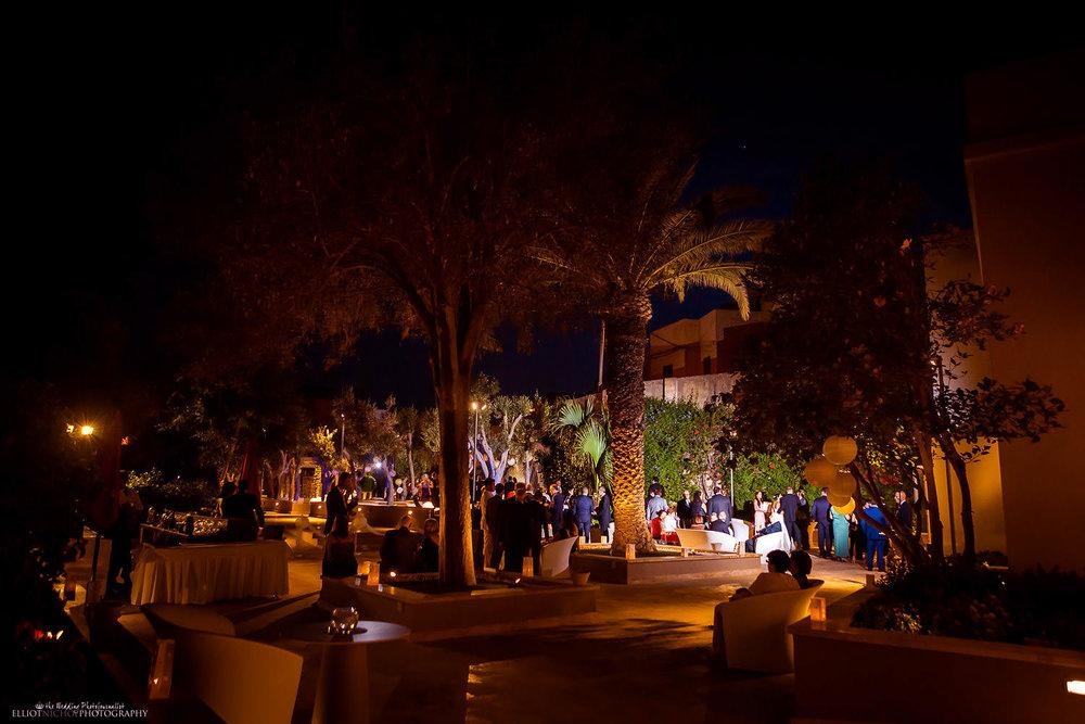 the gardens on Villa Mdina at night. Malta wedding photography.