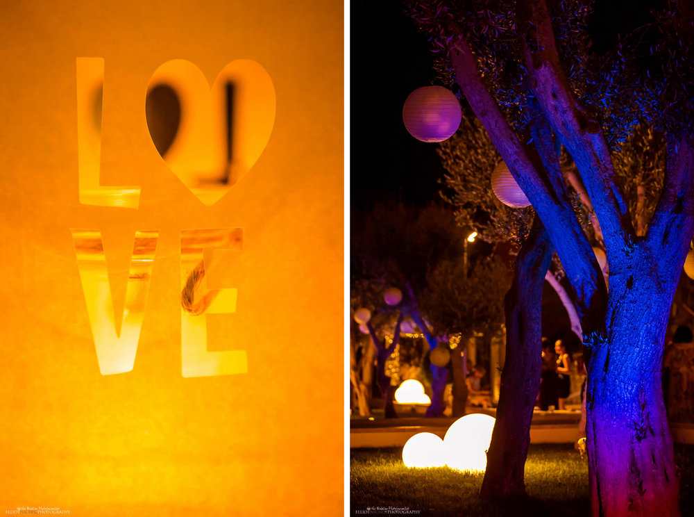 love - the gardens of Villa Mdina at night during a wedding ceremony in Malta