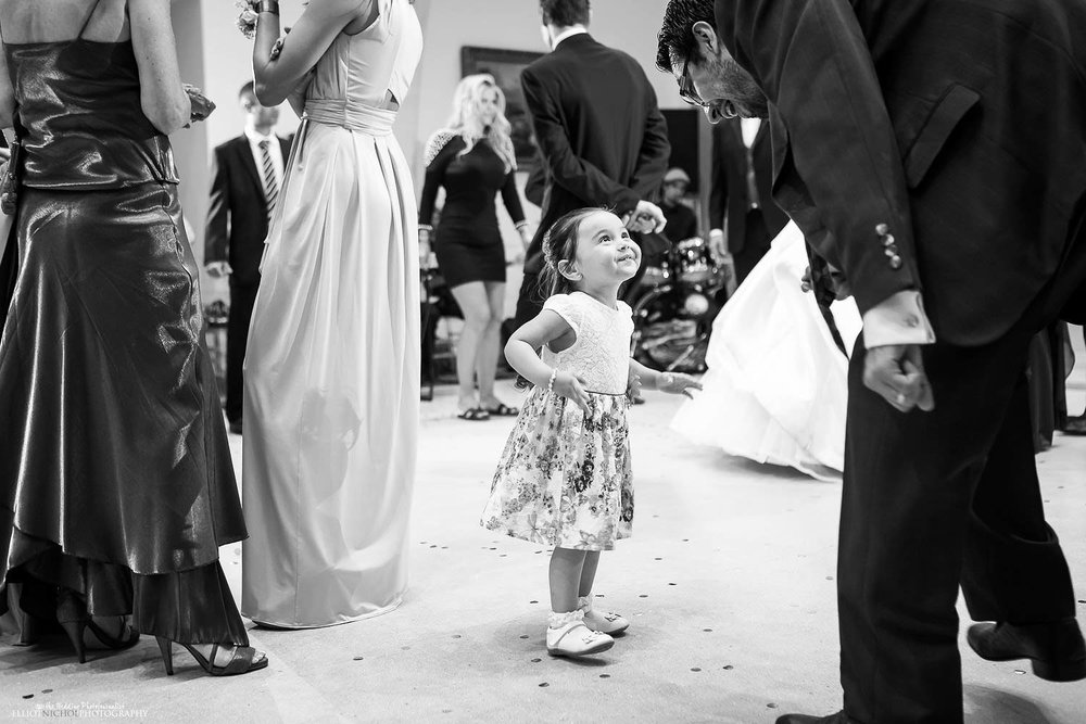 young wedding guest on the dance floor at Villa Mdina, Malta.