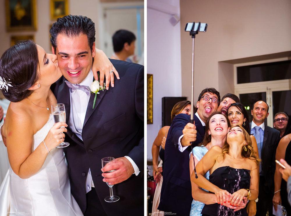 fun at the wedding reception at Villa Mdina in Naxxar, Malta.