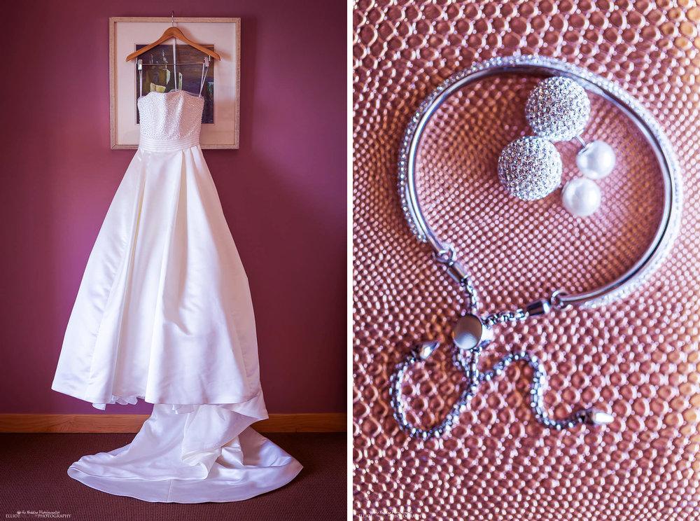 Bride's wedding dress and wedding jewlery