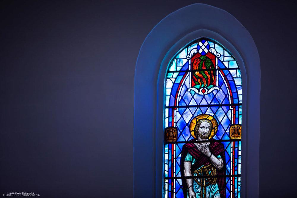 Window detail inside St Andrews of Scots church in Valletta, Malta.