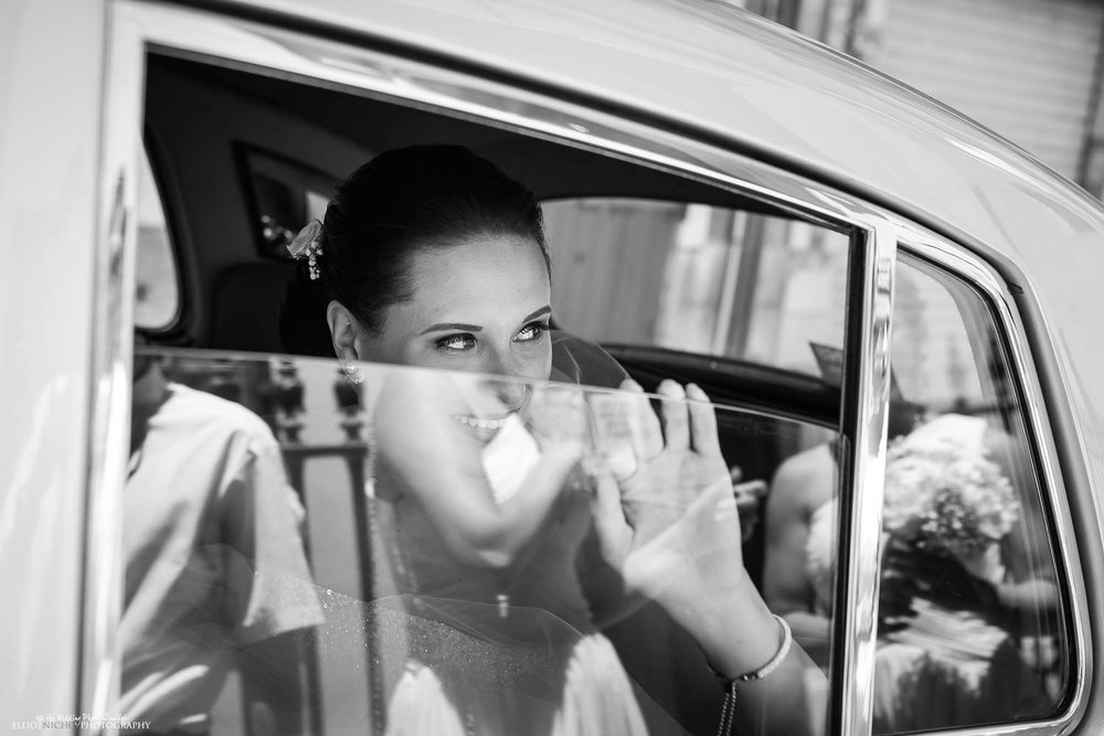 Bride arrives at St Andrews of Scots church in Valletta, Malta, for her wedding ceremony.