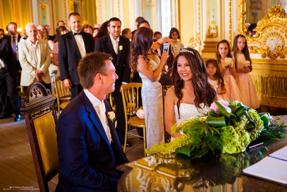Bride and Groom during their wedding ceremony in the Ballroom at Palazzo Parisio in Malta