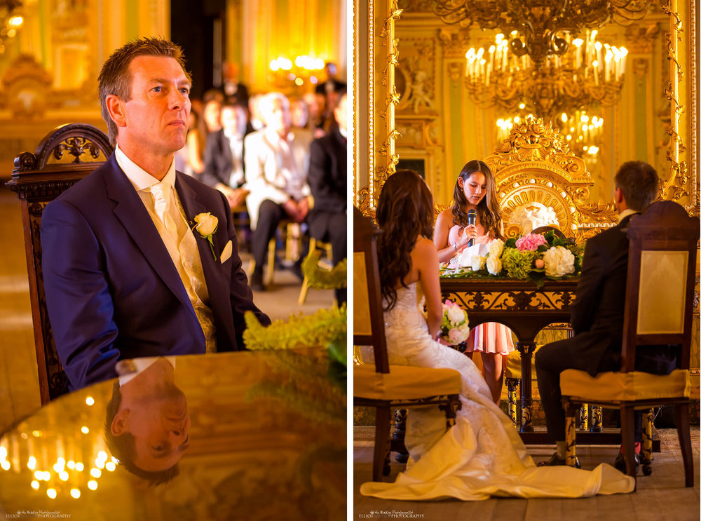 Readings during the wedding ceremony in the golden Ballroom of the Palazzo Parisio in Malta