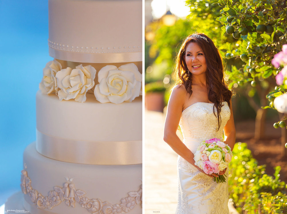 Bride in the gardens of the Palazzo Parisio and a detail photo of her wedding cake.