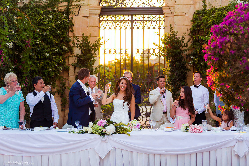 wedding reception in the gardens of the Palazzo Parisio in Naxxar, Malta.