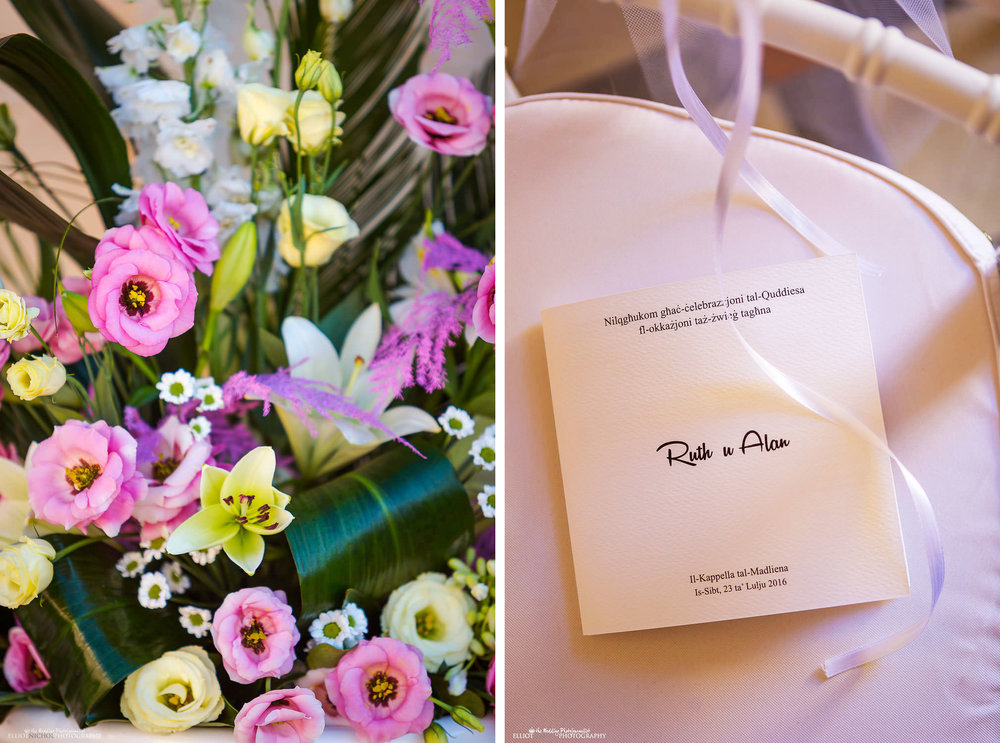 wedding flowers and invitation detail