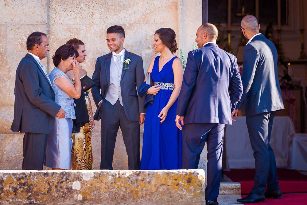 Groom with his family outside the church in Malta.