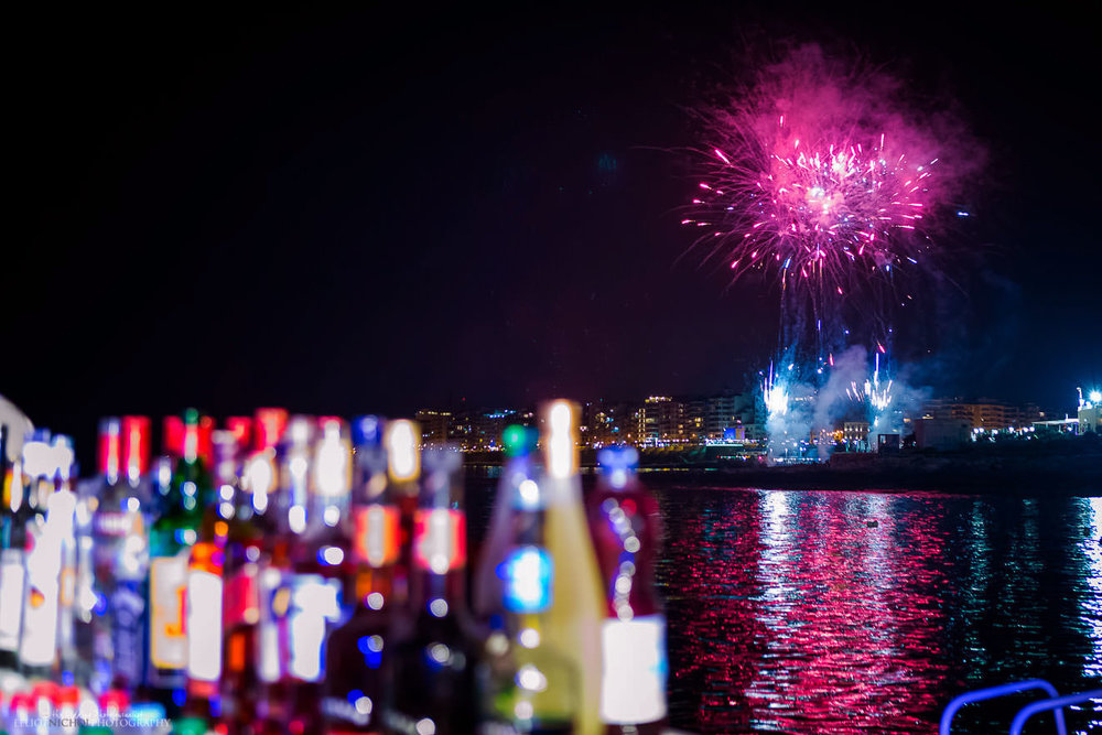 fireworks over St Julains, Malta.