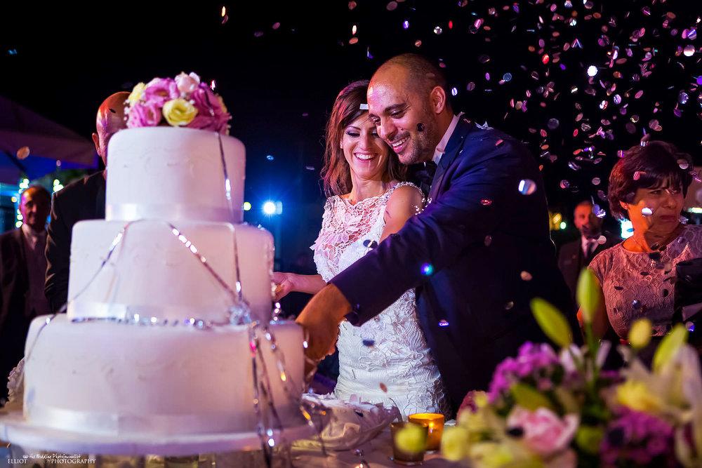 bride and groom cut their wedding cake.