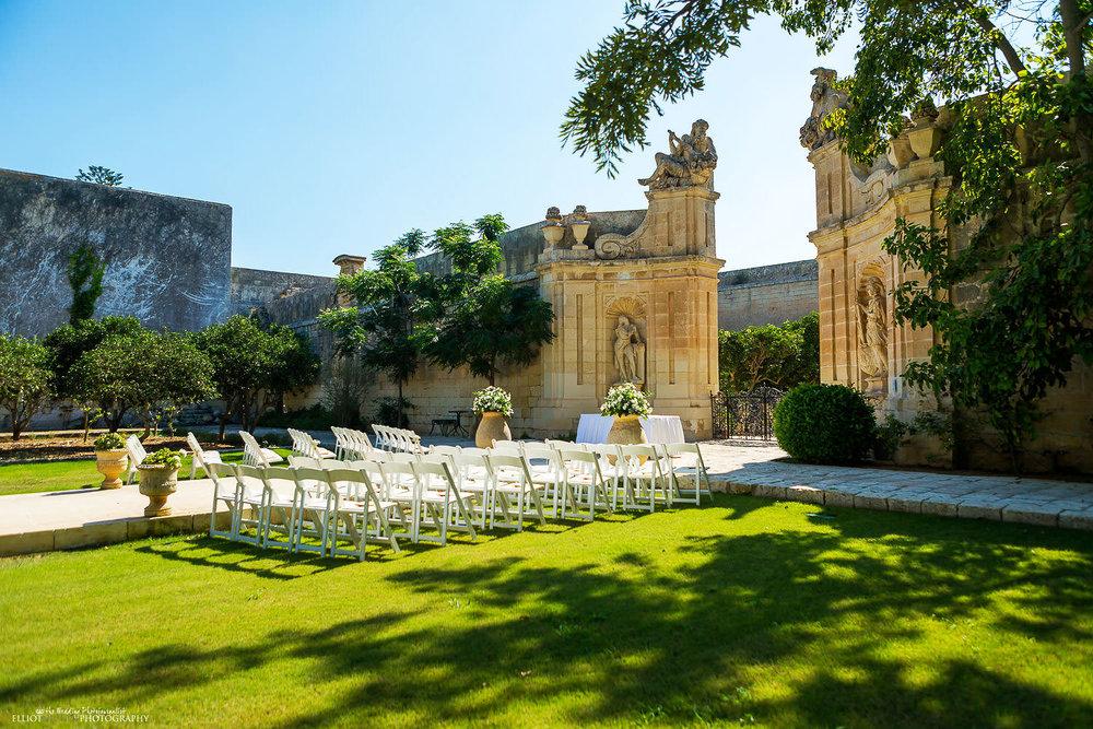 Wedding ceremony setup in the Baroque garden at Villa Bologna